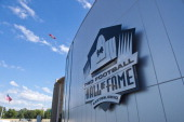The exterior of the Pro Football Hall of Fame prior to the NFL Class of 2013 Enshrinement Ceremony at Fawcett Stadium on Aug 3 2013 in Canton Ohio