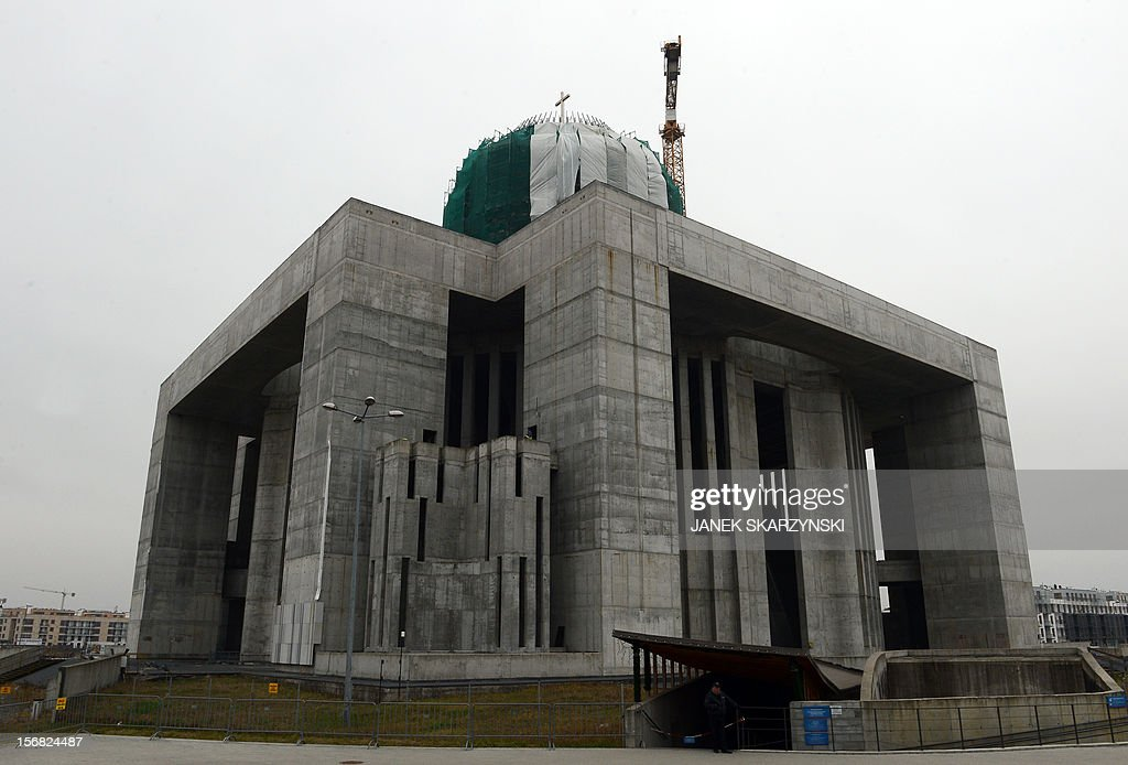 The exterior of the Providence Temple in Warsaw is pictured on November 22, 2012. Four victims of the presidential plane crash near the Russian city of Smolensk on April 10, 2010 are buried in temple. It emerged on November 21 the remains of two priests had been mixed up and they had been interred in each other's graves, one at Warsaw's soaring Temple of Divine Providence and the other at a cemetery in the capital's suburb of Pyry.