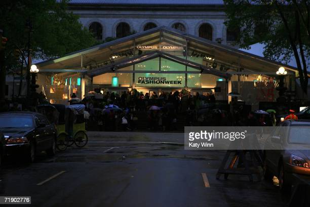 The exterior of the tents is shown during Olympus Fashion Week in Bryant Park September 15 2005 in New York City