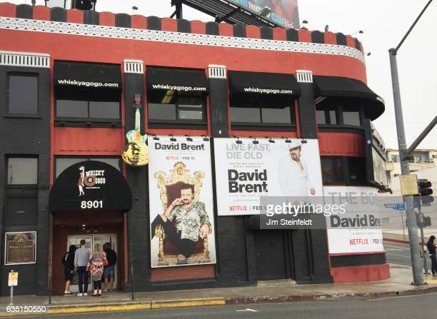 The exterior of the Whisky a Go Go featuring advertising for the David Brent Netflix film in Los Angeles California on February 10 2017