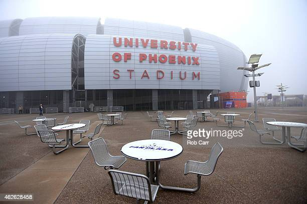 The exterior of University of Phoenix Stadium is seen on a foggy morning before Super Bowl XLIX between the Seattle Seahawks and the New England...