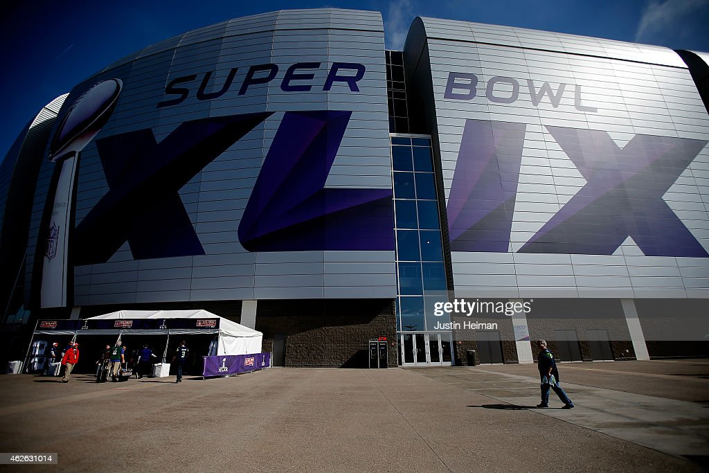 The exterior of University of Phoenix Stadium is seen prior to Super Bowl XLIX between the Seattle Seahawks and the New England Patriots on February...