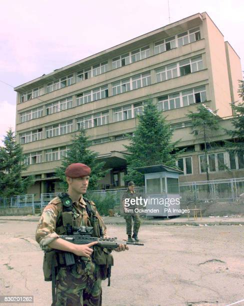 The exterior view of the school hat became a Serbian Police Head Quarters in Pristina Kosovo inside which a torture chamber was found by the British...
