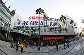 The exterior view of the STAPLES Center is seen before a game between the Los Angeles Kings and the San Jose Sharks in the NHL season opener at...