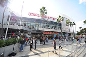 The exterior view of the STAPLES Center prior to a game between the Los Angeles Kings and the Anaheim Ducks at STAPLES Center on November 15 2014 in...