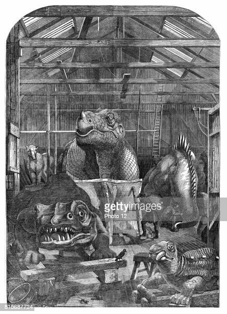 The 'Extinct Animals' model room at Crystal Palace Sydenham showing models of dinosaurs being prepared for display Benjamin Waterhouse Hawkins...