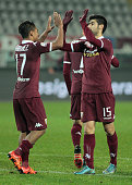The exultation of Josef Martinez and Marco Benassi after the fourth goal during Tim Cup match between Torino FC and AC Cesena at the Olympic Stadium...