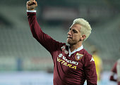 The exultation of Maxi Lopez after the third during Tim Cup match between Torino FC and AC Cesena at the Olympic Stadium of Turin on December 01 2015...