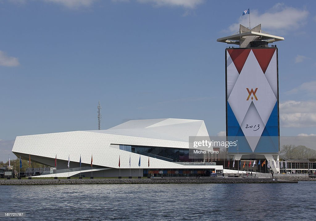 The Eye film Museum beside a decorated building in preparation of the upcoming coronation of Crown Prince Willem Alexander of The Netherlands on April 28, 2013 in Amsterdam, Netherlands. The event occurs on April 30.