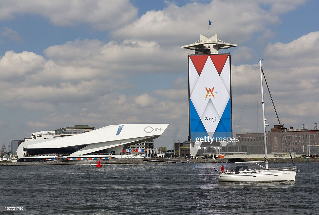 The Eye film Museum lies next to a decorated building in preparation of the upcoming coronation of Crown Prince Willem Alexander of The Netherlands on April 28, 2013 in Amsterdam, Netherlands. The event occurs on April 30.