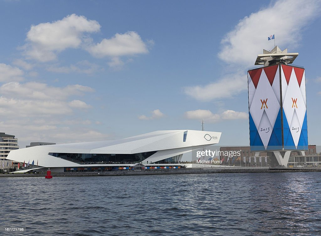 The Eye film Museum next to a decorated building in preparation of the upcoming coronation of Crown Prince Willem Alexander of The Netherlands on April 28, 2013 in Amsterdam, Netherlands. The event occurs on April 30.