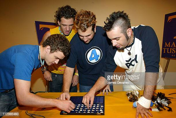 The eyes have it as members of *NSYNC help Madame Tussaud's artists select the right shape and color July 26th 2002