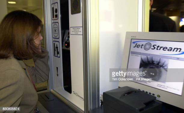 The EyeTicket JetStream iris recognition procedure being unveiled at London's Heathrow Airport which will speed through arrivals at Immigration at...