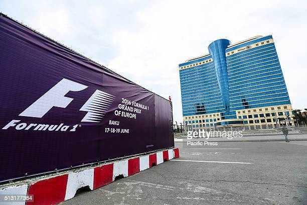The F1 banner in center of Baku The track and pit lane is under construction in preparation for the Baku Formula One Grand Prix scheduled to be held...