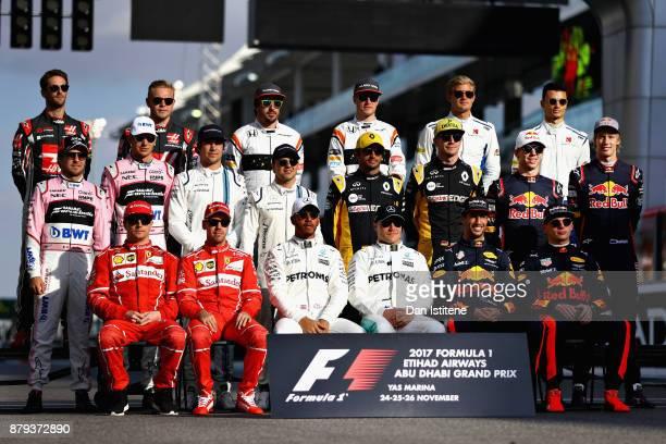 The F1 Drivers Class of 2017 photo before the Abu Dhabi Formula One Grand Prix at Yas Marina Circuit on November 26 2017 in Abu Dhabi United Arab...