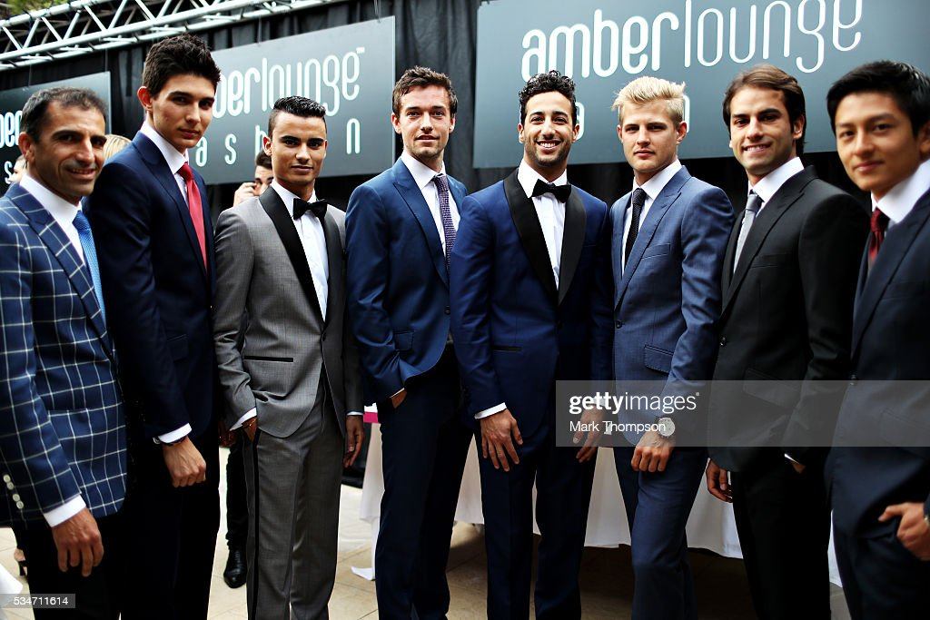 The F1 drivers (left to right) <a gi-track='captionPersonalityLinkClicked' href=/galleries/search?phrase=Marc+Gene&family=editorial&specificpeople=217824 ng-click='$event.stopPropagation()'>Marc Gene</a>, Esteban Ocon of France and Renault Sport F1, <a gi-track='captionPersonalityLinkClicked' href=/galleries/search?phrase=Pascal+Wehrlein&family=editorial&specificpeople=9406324 ng-click='$event.stopPropagation()'>Pascal Wehrlein</a> of Germany and Manor Racing, <a gi-track='captionPersonalityLinkClicked' href=/galleries/search?phrase=Jolyon+Palmer&family=editorial&specificpeople=7493068 ng-click='$event.stopPropagation()'>Jolyon Palmer</a> of Great Britain and Renault Sport F1, <a gi-track='captionPersonalityLinkClicked' href=/galleries/search?phrase=Daniel+Ricciardo&family=editorial&specificpeople=6547569 ng-click='$event.stopPropagation()'>Daniel Ricciardo</a> of Australia and Red Bull Racing, <a gi-track='captionPersonalityLinkClicked' href=/galleries/search?phrase=Marcus+Ericsson&family=editorial&specificpeople=6547855 ng-click='$event.stopPropagation()'>Marcus Ericsson</a> of Sweden and Sauber F1, <a gi-track='captionPersonalityLinkClicked' href=/galleries/search?phrase=Felipe+Nasr&family=editorial&specificpeople=7881965 ng-click='$event.stopPropagation()'>Felipe Nasr</a> of Brazil and Sauber F1 and <a gi-track='captionPersonalityLinkClicked' href=/galleries/search?phrase=Rio+Haryanto&family=editorial&specificpeople=15106151 ng-click='$event.stopPropagation()'>Rio Haryanto</a> of Indonesia and Manor Racing line up ahead of the Amber Lounge fashion show during previews to the Monaco Formula One Grand Prix at Circuit de Monaco on May 27, 2016 in Monte-Carlo, Monaco.