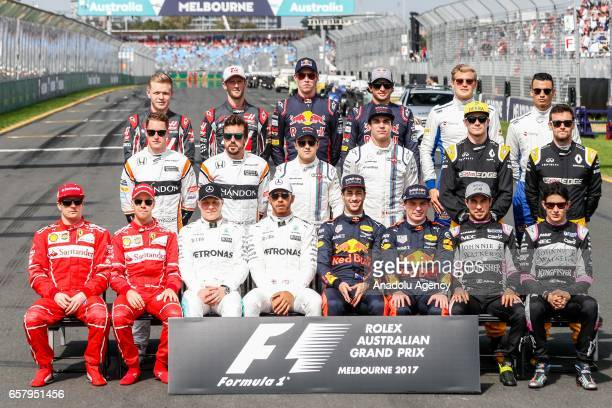The F1 Drivers of Class of 2017 pose for a photo before the 2017 Rolex Australian Formula 1 Grand Prix at Albert Park circuit in Melbourne Australia...
