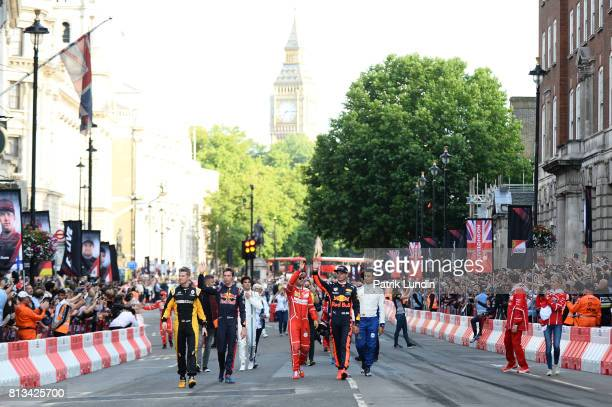 The F1 drives wave to the fans during F1 Live London at Trafalgar Square on July 12 2017 in London England F1 Live London the first time in Formula 1...