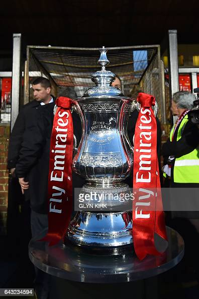 The FA Cup is pictured on display inside the stadium ahead of the English FA Cup fifth round football match between Sutton United and Arsenal at the...