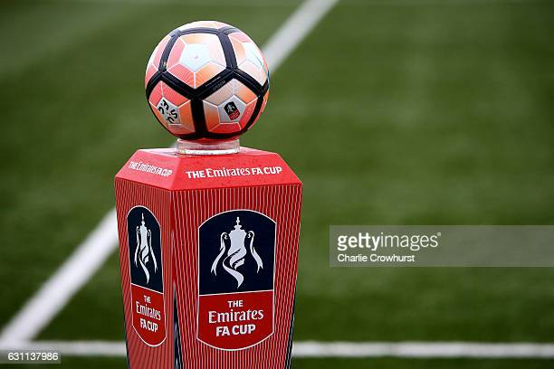 The FA Cup match ball is seen prior to The Emirates FA Cup Third Round match between Sutton United and AFC Wimbledon at the Borough Sports Ground on...