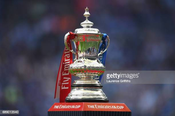 The FA Cup Trophy is seen prior to The Emirates FA Cup Final between Arsenal and Chelsea at Wembley Stadium on May 27 2017 in London England