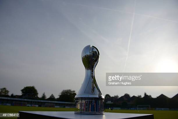 The FA WSL trophy is displayed before the FA WSL match between Chelsea Ladies FC and Sunderland AFC Ladies on October 4 2015 in Staines England