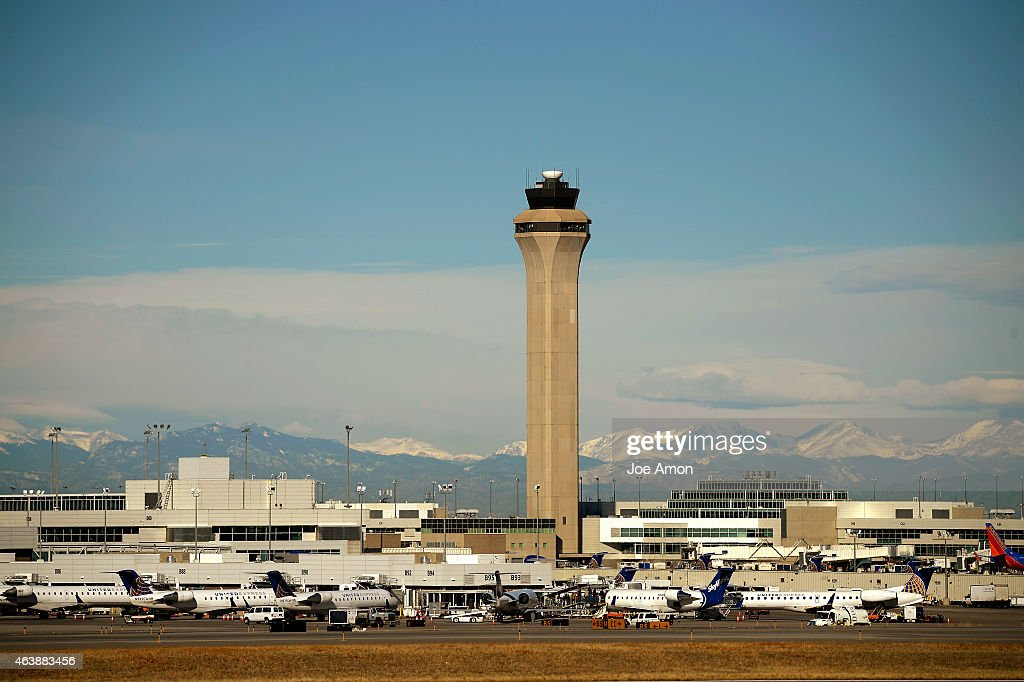 The FAA Control Tower at Denver International Airport from the far side of the airfield February 19 2015 Denver CO