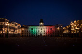 ITA: Trieste Main Square Is Lit With The Colors Of The Italian Flag