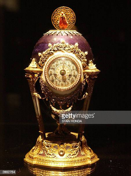 The Faberge Cuckoo Egg part of 'Imperial Treasures Faberge from the Forbes Collection' on display 08 January at Sotheby's auction house in New York...