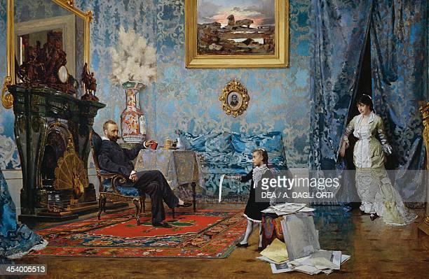 The Fabricci family ca 1880 by Eugenio Scomparini oil on canvas 68x187 cm Italy 19th century Trieste Civico Museo Morpurgo