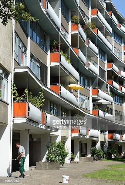 The facade of an appartment block of the Hansaviertel in Berlin pictured on August 1 2012 Berlin is seeking to have the KarlMarxAlle the Hansa...