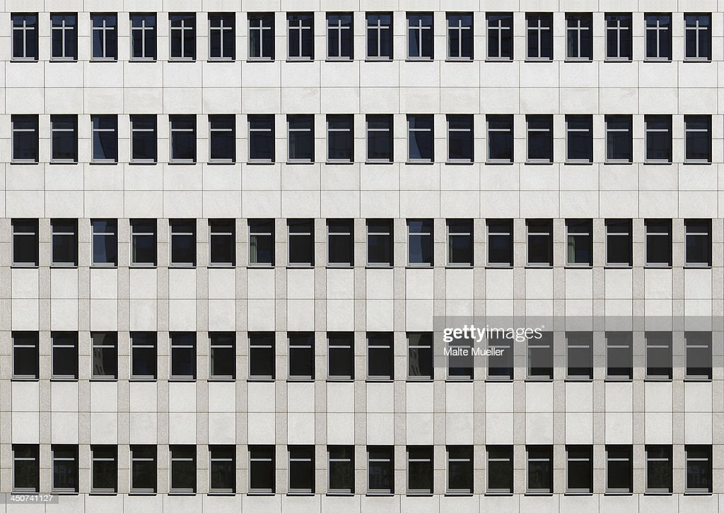 The facade of an office building, full frame
