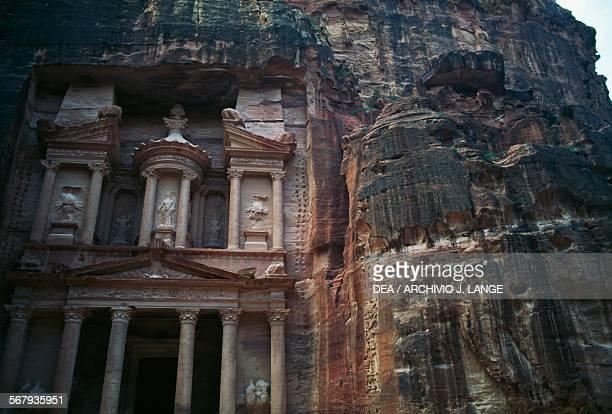 The facade of Khazneh elFaraun 1st century BC ancient city of Petra Jordan Nabatean civilisation 6th century BC2nd century AD