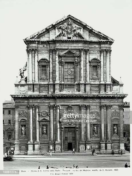 The facade of St Andrew of the Valley designed by Carlo Maderno later modified by Carlo Rainaldi Rome Italy 20th Century
