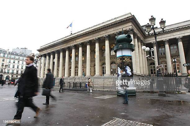 NOVEMBER 21 The facade of the Bourse de Paris the Palais Brongniart the former French stock exchange location prior to electronic trading is seen on...