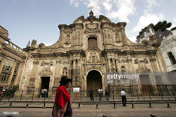 The facade of the Compania de Jesus Church in Quito as seen on April 2 2008 The building of the church started in 1605 and lasted 160 years The last...