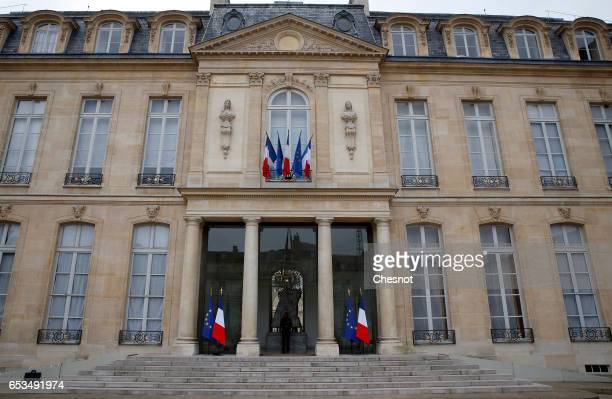 The facade of the Elysee Presidential Palace is seen during a weekly cabinet meeting on March 15 2017 in Paris France French presidential elections...