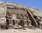 The facade of the Main Temple of Abu Simbel with its four statues of Ramesses II dating back to the reign of Ramesses II Egyptian Civilisation New...