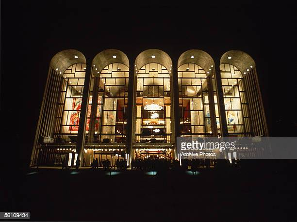 The facade of the Metropolitan Opera House at the Lincoln Center for Performing Arts in New York mid 1960s