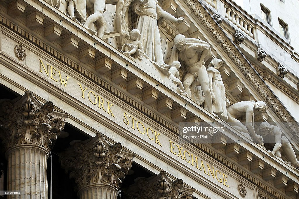 The facade of the New York Stock Exchange is viewed on April 2, 2012 in New York City. In the first trading day of April, U.S. stocks opened the second quarter with limited gains with the Dow Jones Industrial Average added 37.95 points to 13,249 in morning trading.