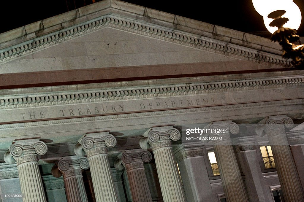 The facade of the US Treasury Department is seen on August 5 2011 after Standard Poor's cut the US credit rating for the first time in history saying...