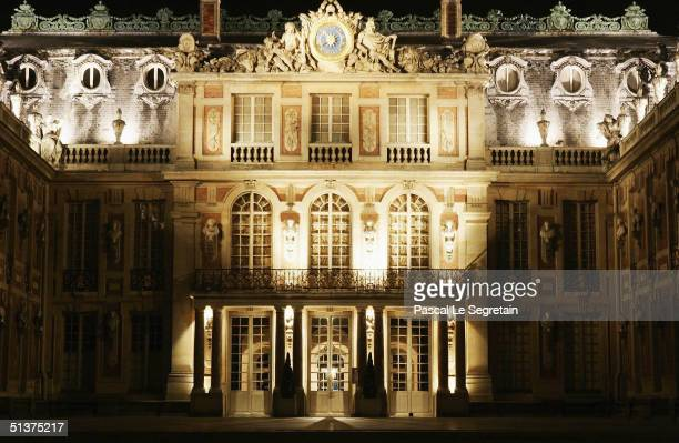 The facade of the Versailles Palace is seen at night September 29 2004 in Versailles France To end the Grandes Eaux Musicales season the Palace of...