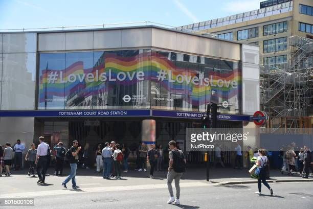 The facade of Tottenham Court Road Station has been covered with the rainbow colours to celebrate Pride London June 26 2017