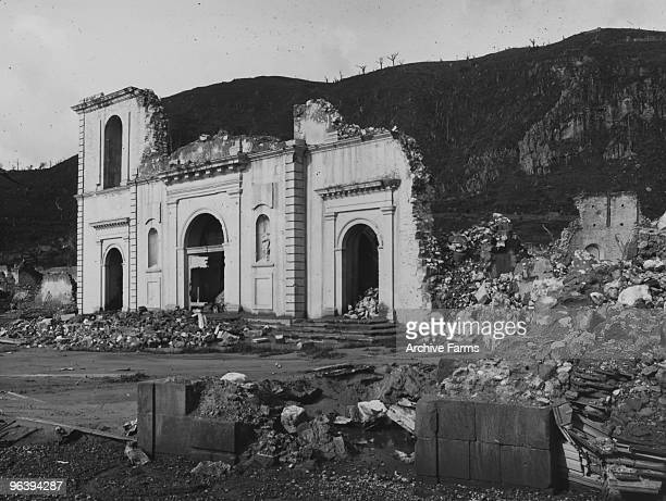 The facade remains of the cathedral after the blast of the Mount Pelee volcano on May 10 1902 at St Pierre Martinique