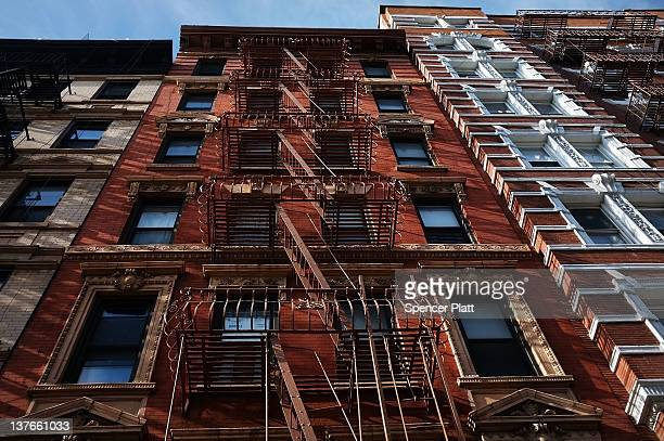 The facades of buildings are seen in a area of the East Village that the city of New York wants to declare a historic district on January 23 2012 in...