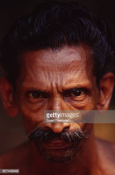 The face of a Dalit man in Aymenam the village where Arundhati Roy set her Book Prize winning novel 'The God of Small Things'
