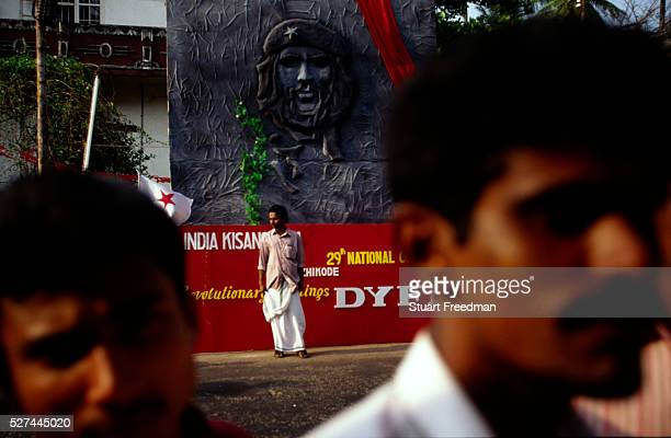 The face of Che Guevara looks over a Communist Party rally in Calicut Since it's election in 1957 Kerala's Communist Party has been regularly though...