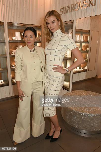 The face of Swarovski Karlie Kloss and Tina Leung visit the Swarovski Regent Street Store on December 5 2016 in London England