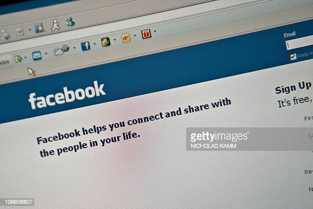 The Facebook homepage is seen on a computer screen in Washington on November 9 2010 AFP PHOTO/Nicholas KAMM