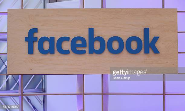The Facebook logo is displayed at the Facebook Innovation Hub on February 24 2016 in Berlin Germany The Facebook Innovation Hub is a temporary...